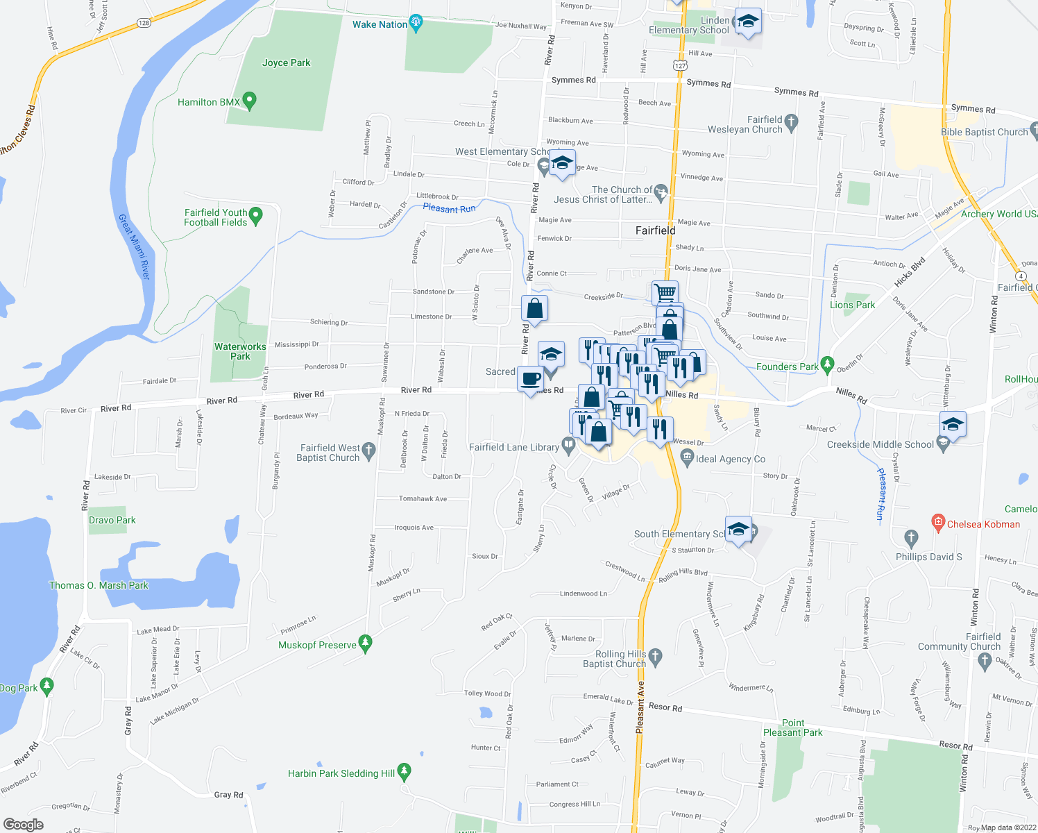 map of restaurants, bars, coffee shops, grocery stores, and more near 5247 Southgate Boulevard in Fairfield
