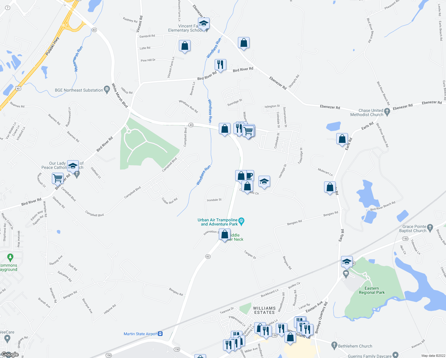 map of restaurants, bars, coffee shops, grocery stores, and more near 11550 Crossroads Circle in Baltimore