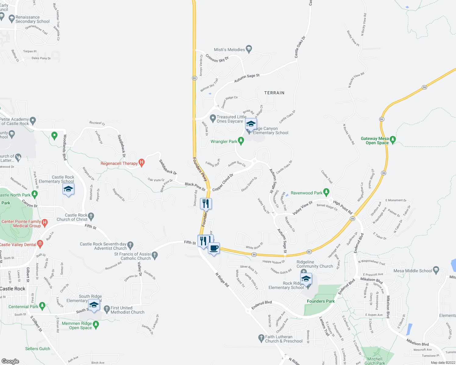 map of restaurants, bars, coffee shops, grocery stores, and more near in Castle Rock
