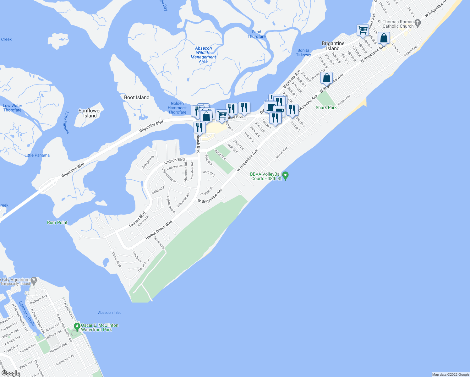 map of restaurants, bars, coffee shops, grocery stores, and more near 326 44th St S in Brigantine