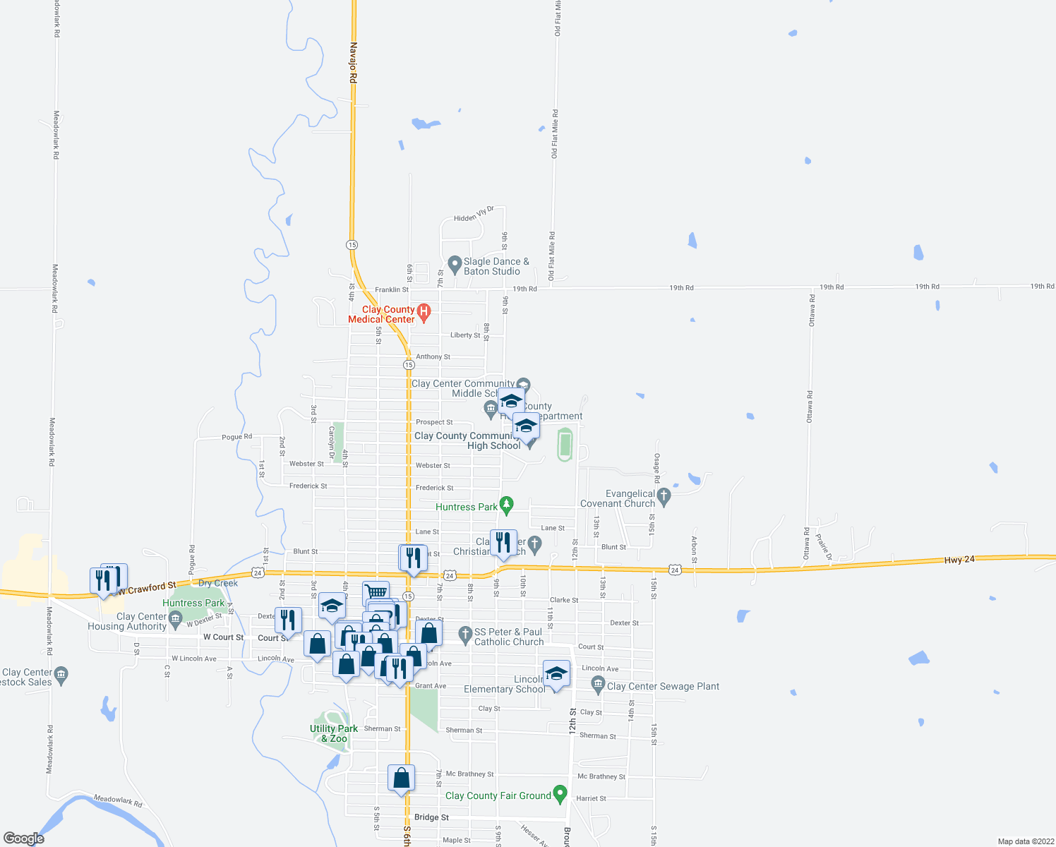 map of restaurants, bars, coffee shops, grocery stores, and more near 900-990 Prospect Street in Clay Center