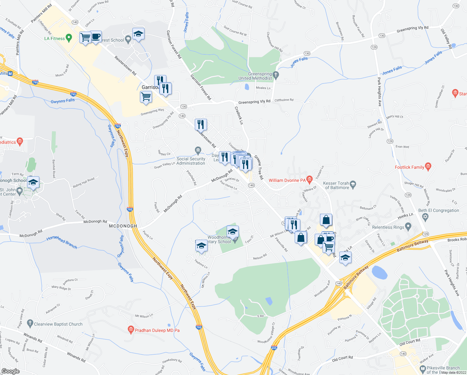 map of restaurants, bars, coffee shops, grocery stores, and more near 9015 Saracen Drive in Pikesville