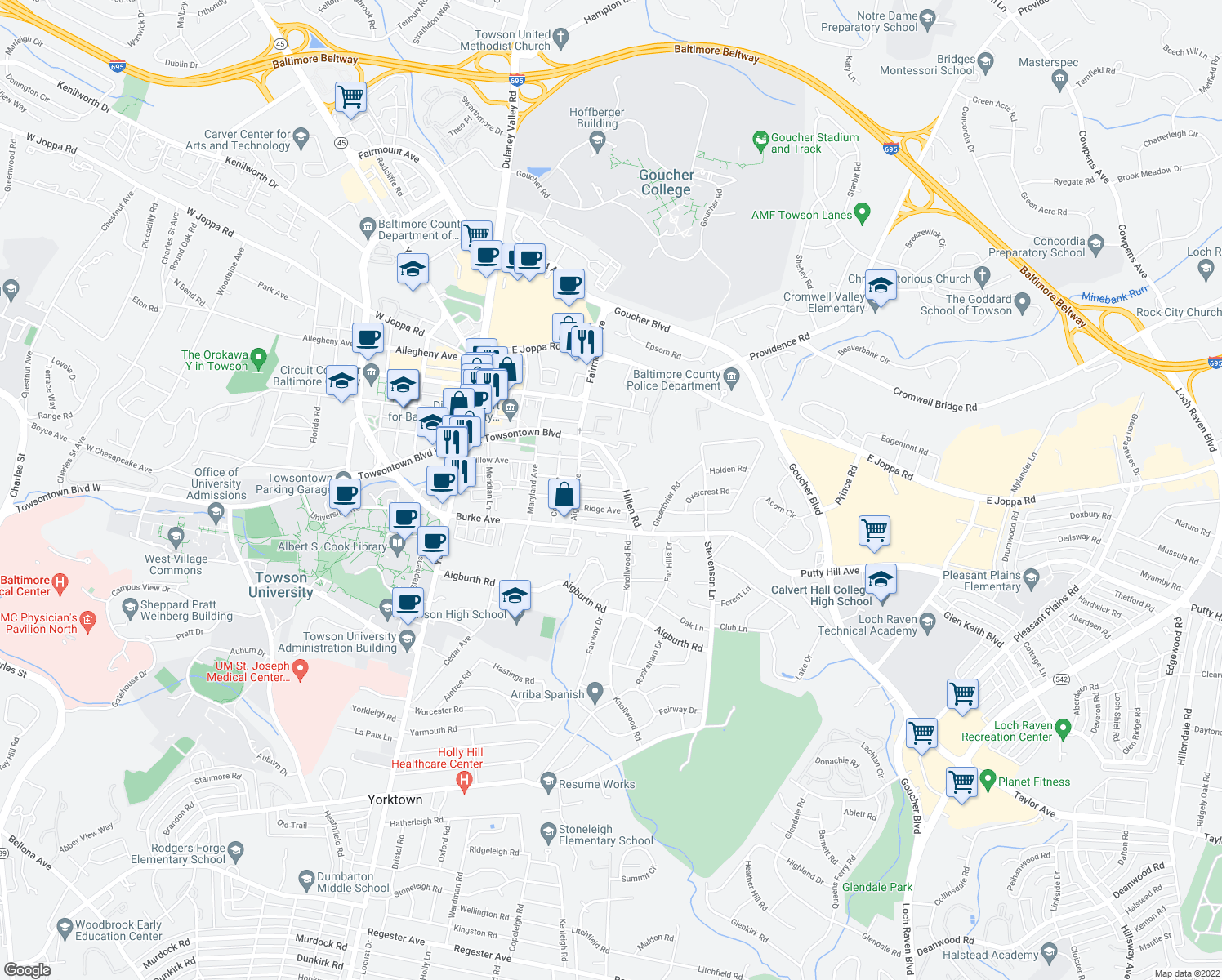 map of restaurants, bars, coffee shops, grocery stores, and more near E Susquehanna Ave & Linden Ave in Towson