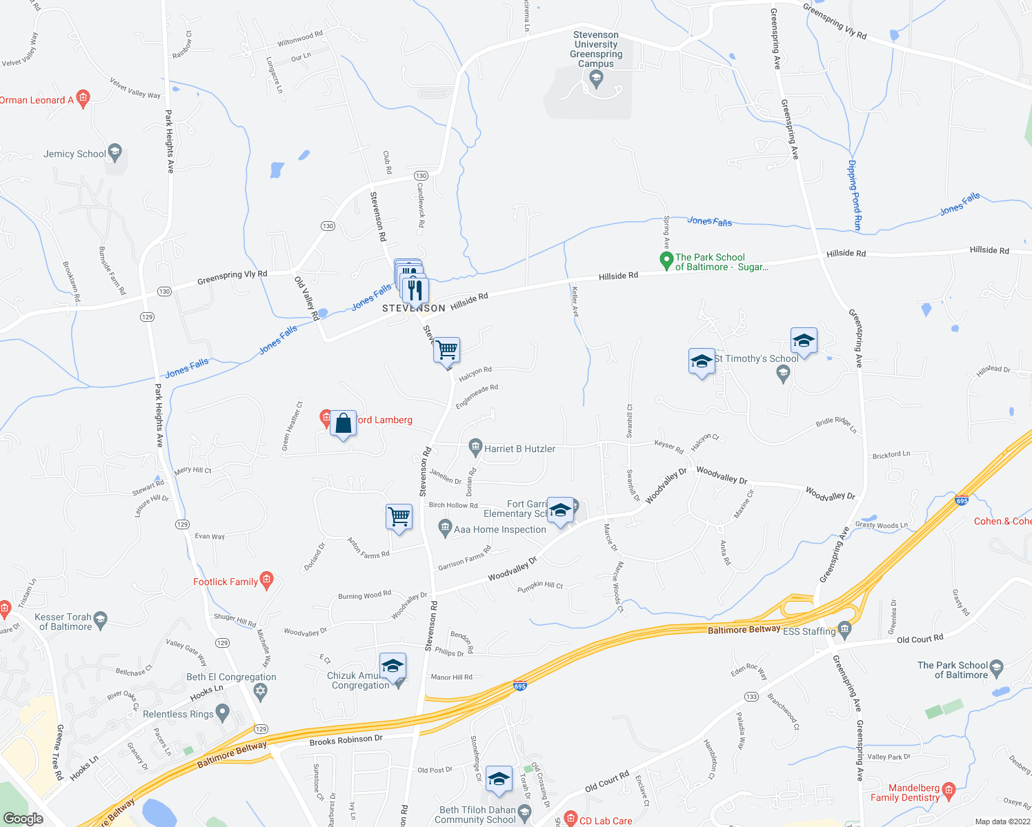 map of restaurants, bars, coffee shops, grocery stores, and more near 3403 Englemeade Road in Pikesville