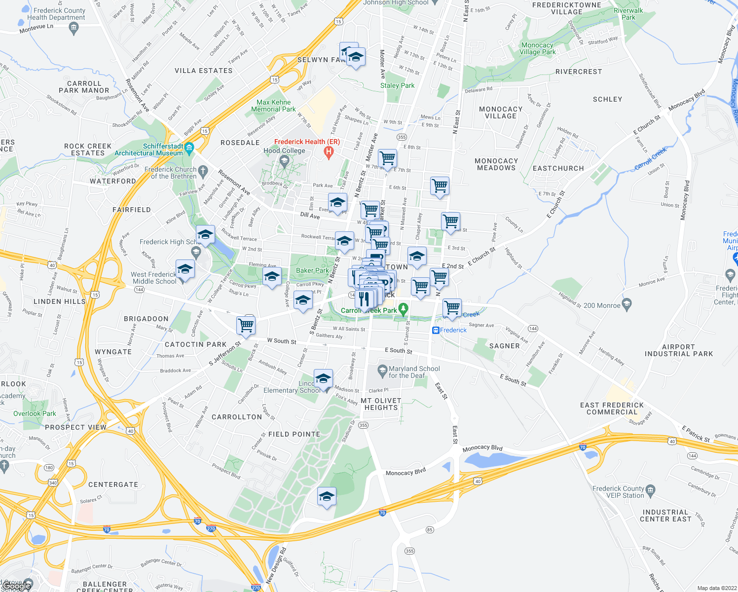 map of restaurants, bars, coffee shops, grocery stores, and more near 30 West Patrick Street in Frederick