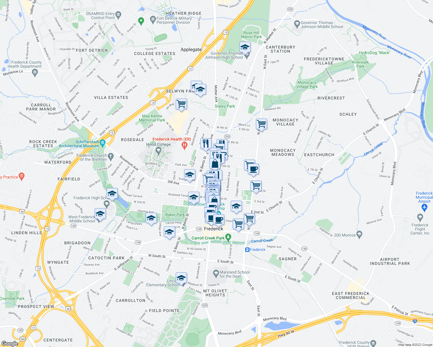 map of restaurants, bars, coffee shops, grocery stores, and more near 406-416 North Market Street in Frederick