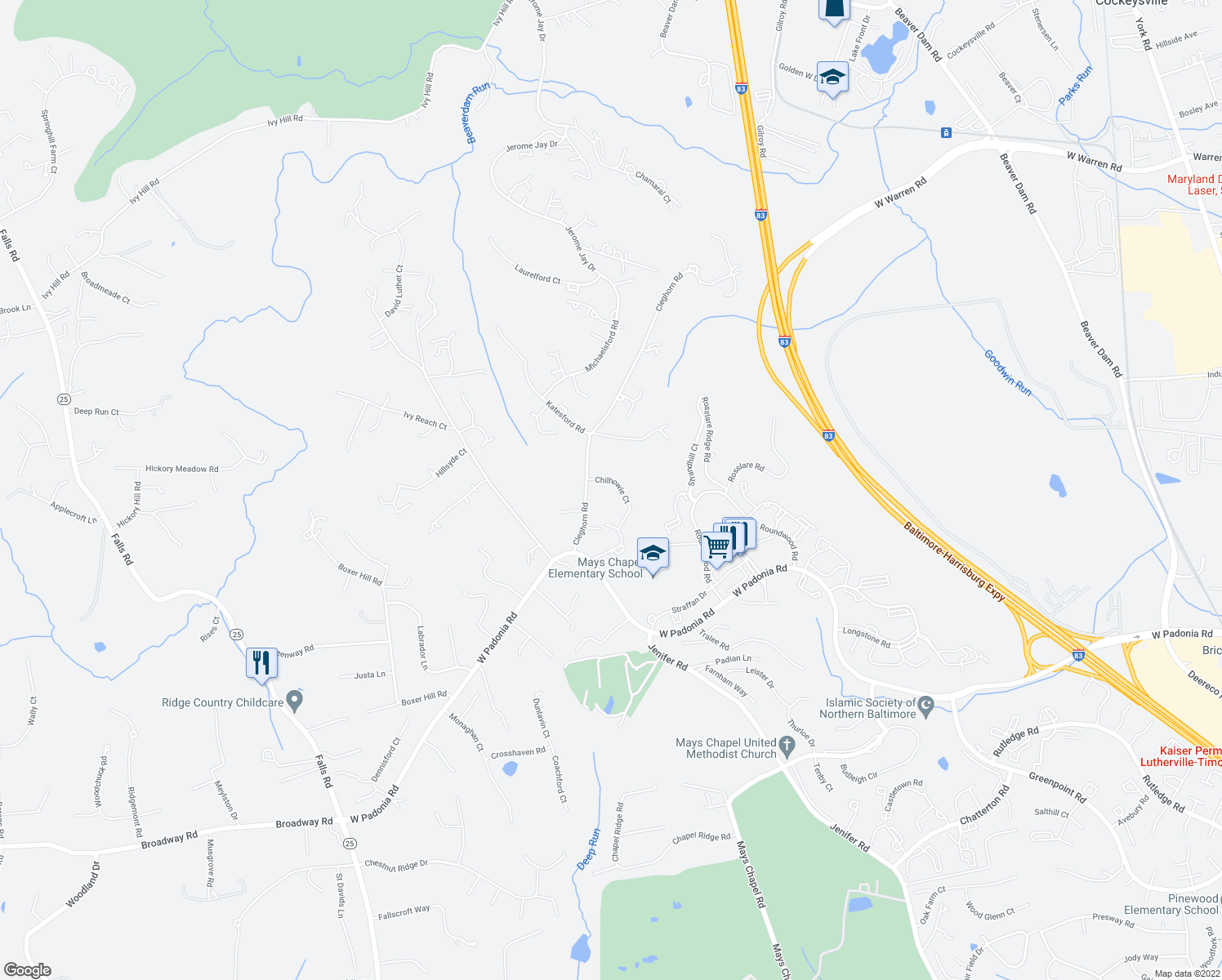 map of restaurants, bars, coffee shops, grocery stores, and more near 3 Chilhowie Court in Cockeysville