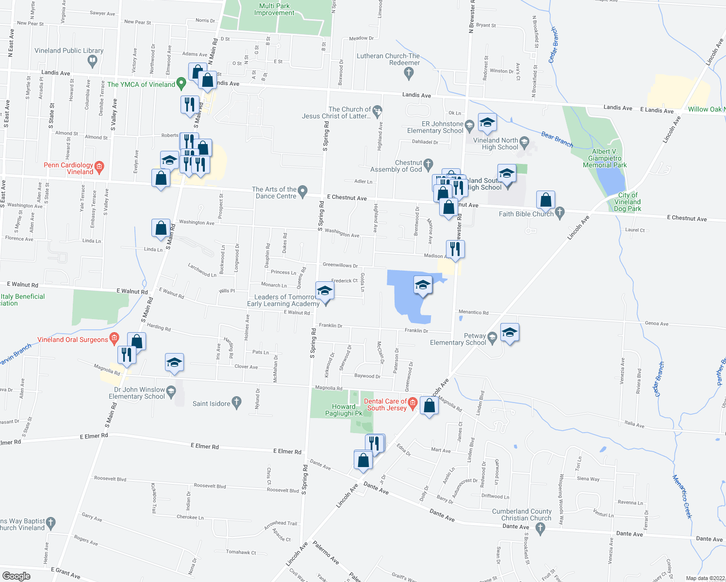 map of restaurants, bars, coffee shops, grocery stores, and more near Golda Lane in Vineland