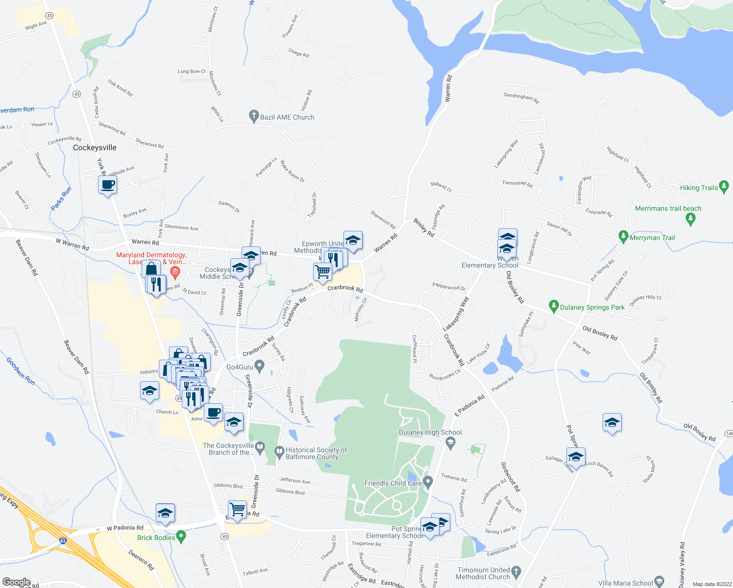 map of restaurants, bars, coffee shops, grocery stores, and more near 10338 Malcolm Circle in Cockeysville