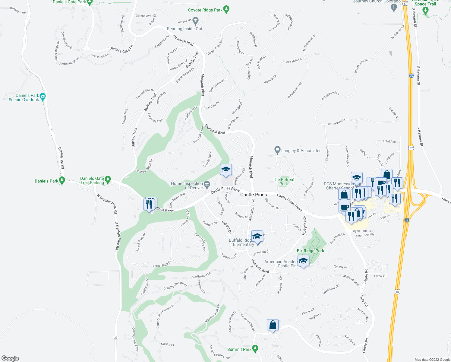 map of restaurants, bars, coffee shops, grocery stores, and more near 1039-1099 Castle Pines Parkway in Castle Pines