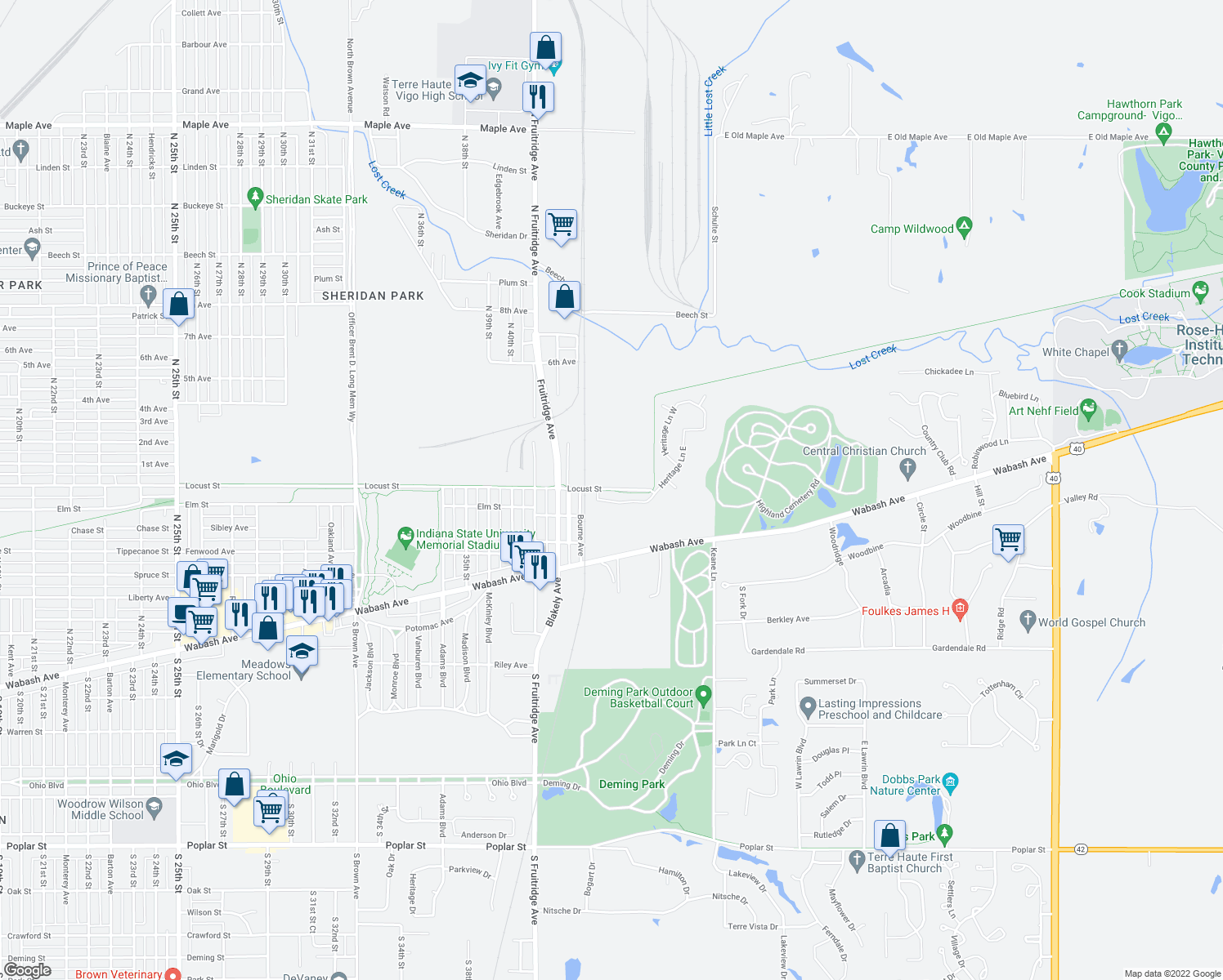 "map of restaurants, bars, coffee shops, grocery stores, and more near ""Heritage Trail in Terre Haute"