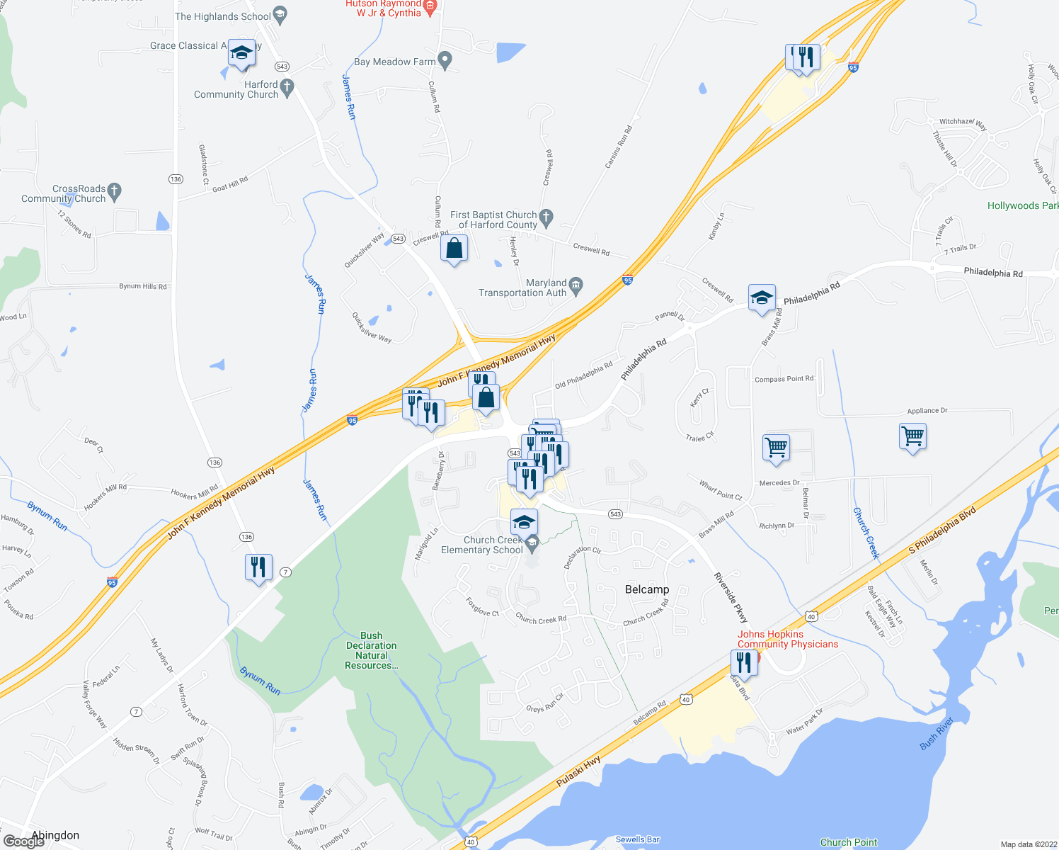 map of restaurants, bars, coffee shops, grocery stores, and more near 1301-1311 James Way in Belcamp