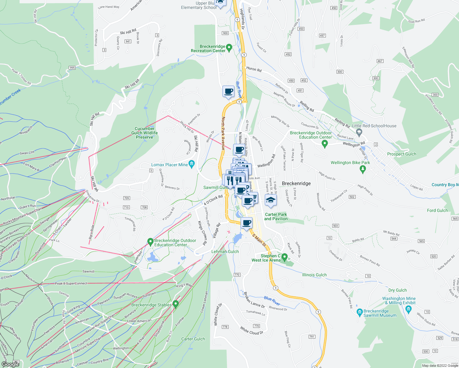 map of restaurants, bars, coffee shops, grocery stores, and more near 100 South Park Avenue in Breckenridge