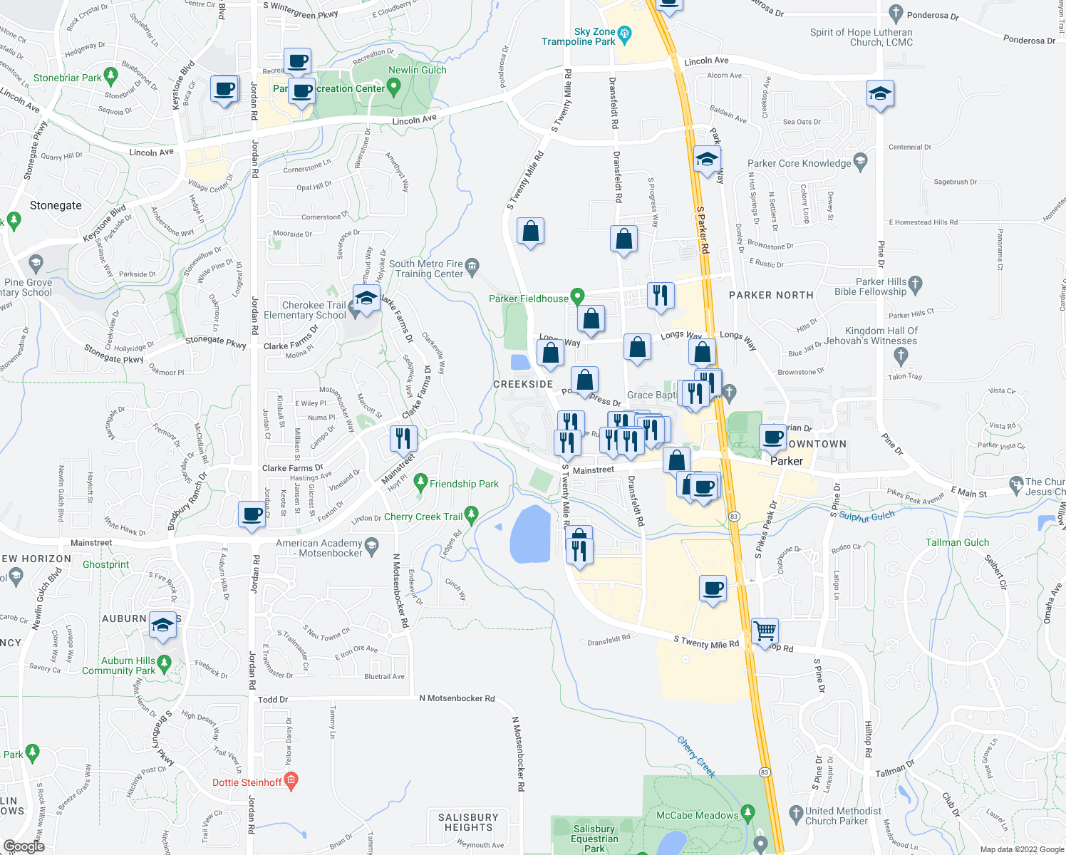 map of restaurants, bars, coffee shops, grocery stores, and more near 18139 East Mainstreet in Parker