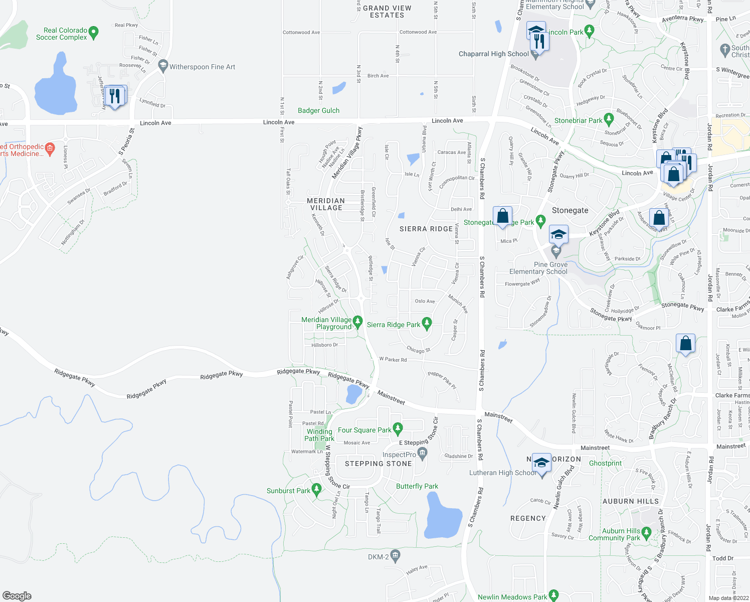 map of restaurants, bars, coffee shops, grocery stores, and more near 10578 Rutledge St in Parker