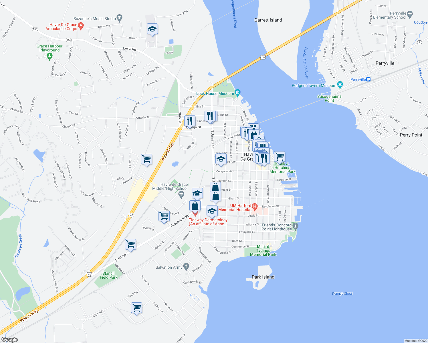 map of restaurants, bars, coffee shops, grocery stores, and more near 700-798 Congress Avenue in Havre de Grace