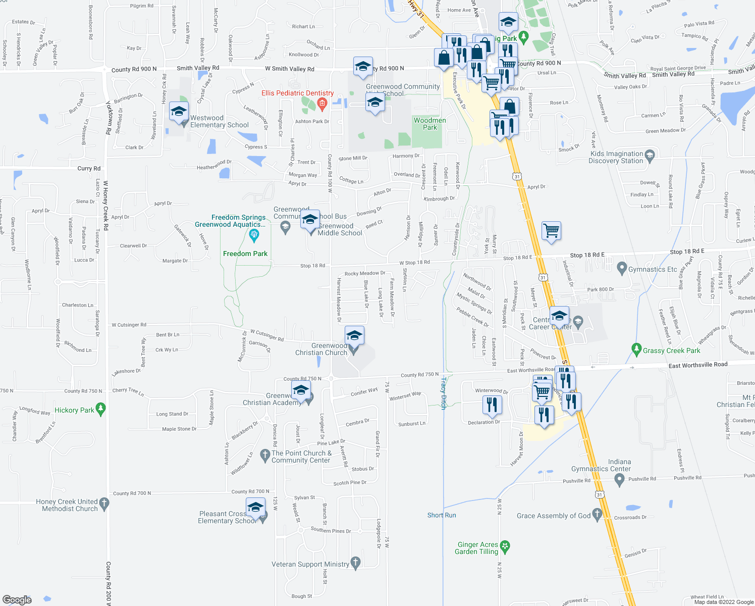 map of restaurants, bars, coffee shops, grocery stores, and more near 571 Blue Meadow Drive in Greenwood