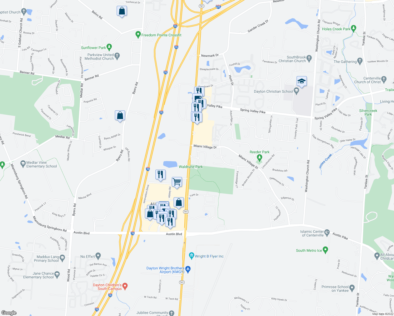 map of restaurants, bars, coffee shops, grocery stores, and more near Summit Pointe Drive in Springboro