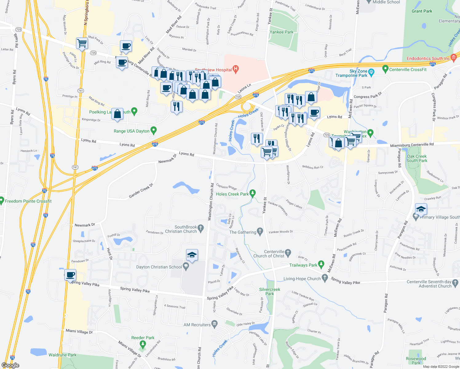 map of restaurants, bars, coffee shops, grocery stores, and more near 1570 Spinnaker Way in Dayton