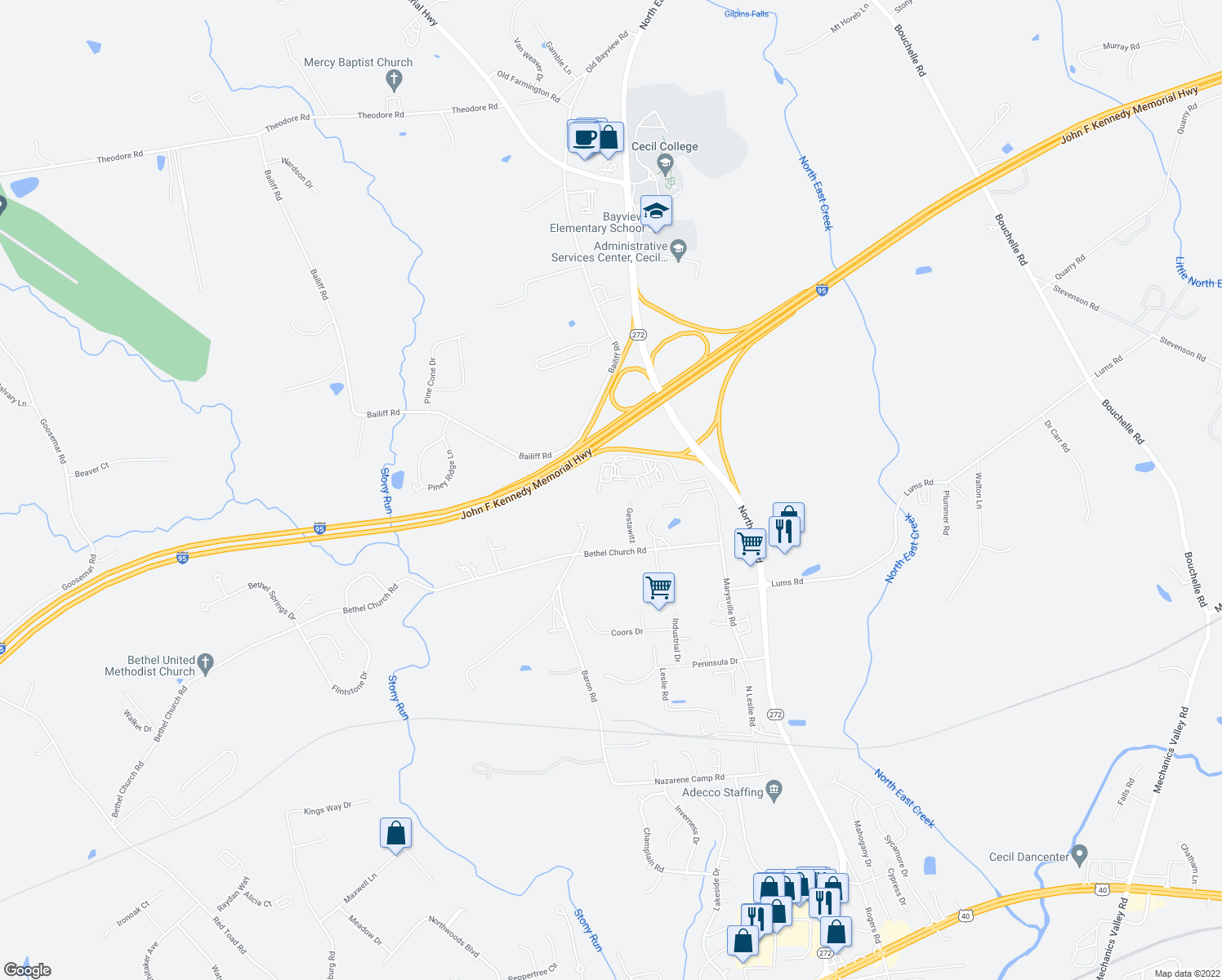 map of restaurants, bars, coffee shops, grocery stores, and more near Chesapeake Ridge Lane in North East