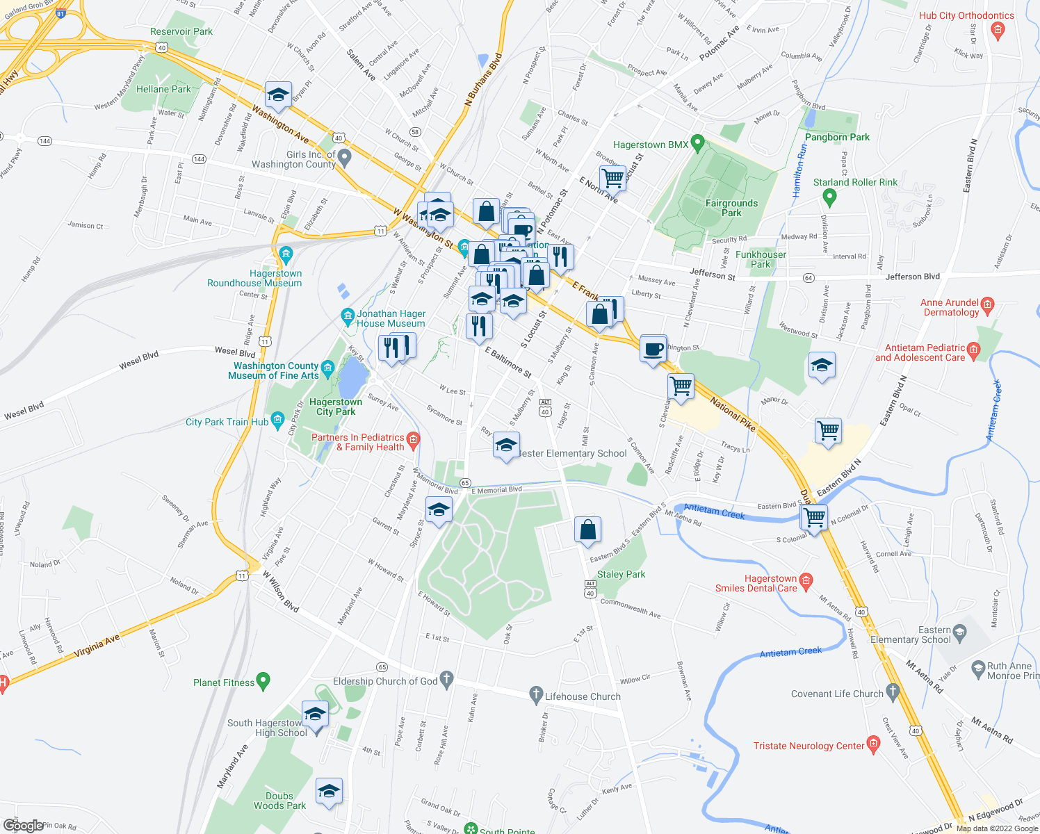map of restaurants, bars, coffee shops, grocery stores, and more near 252 South Mulberry Street in Hagerstown