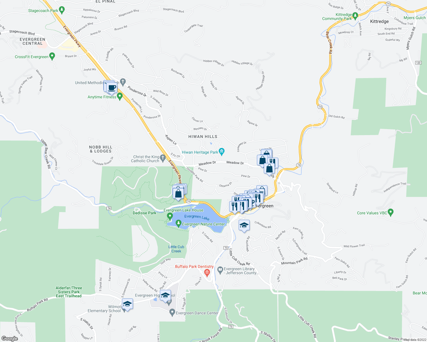 map of restaurants, bars, coffee shops, grocery stores, and more near 28509 Pine Drive in Evergreen