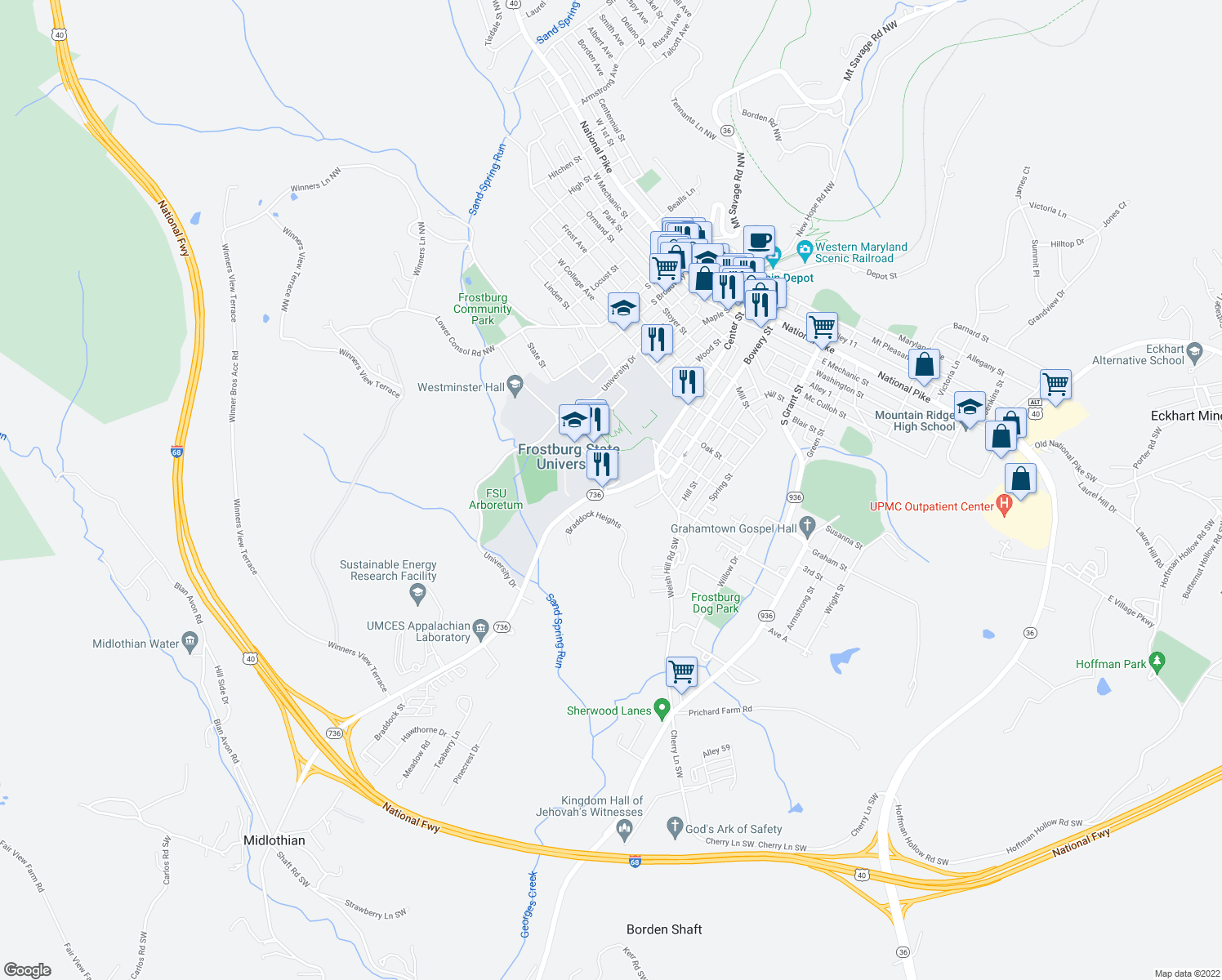 map of restaurants, bars, coffee shops, grocery stores, and more near 101 Braddock Road in Frostburg