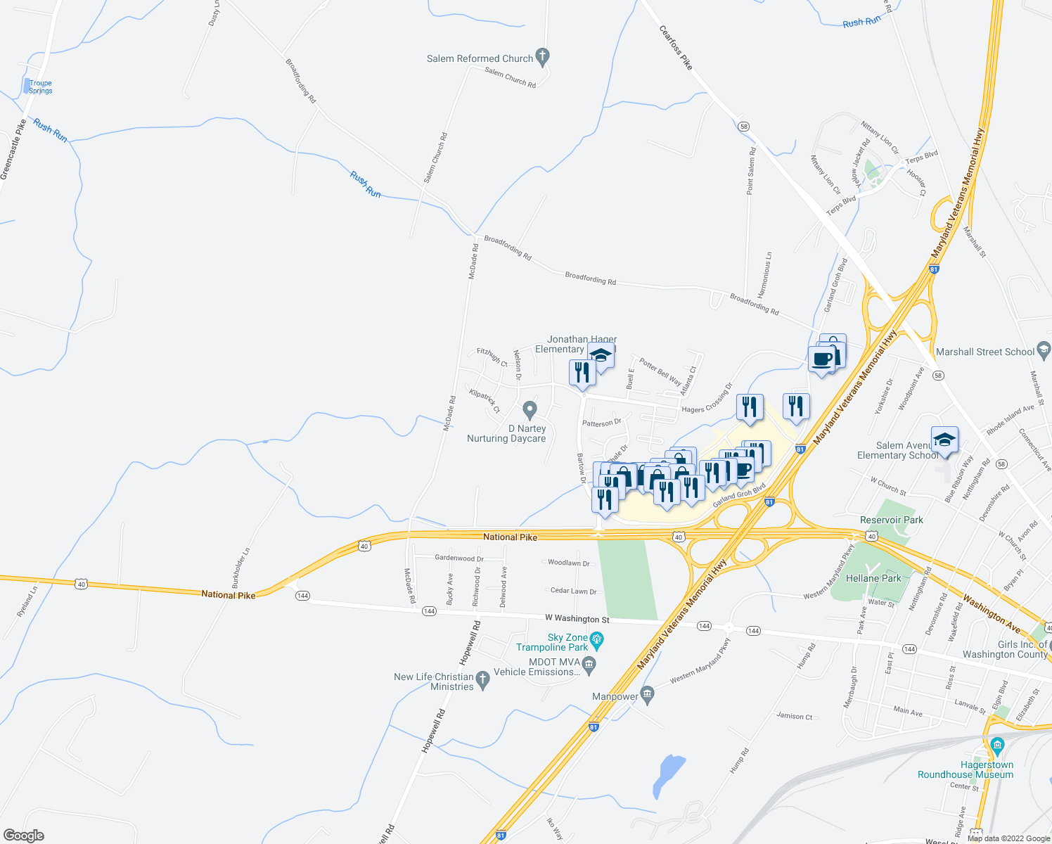 map of restaurants, bars, coffee shops, grocery stores, and more near Gemstone Drive in Hagerstown