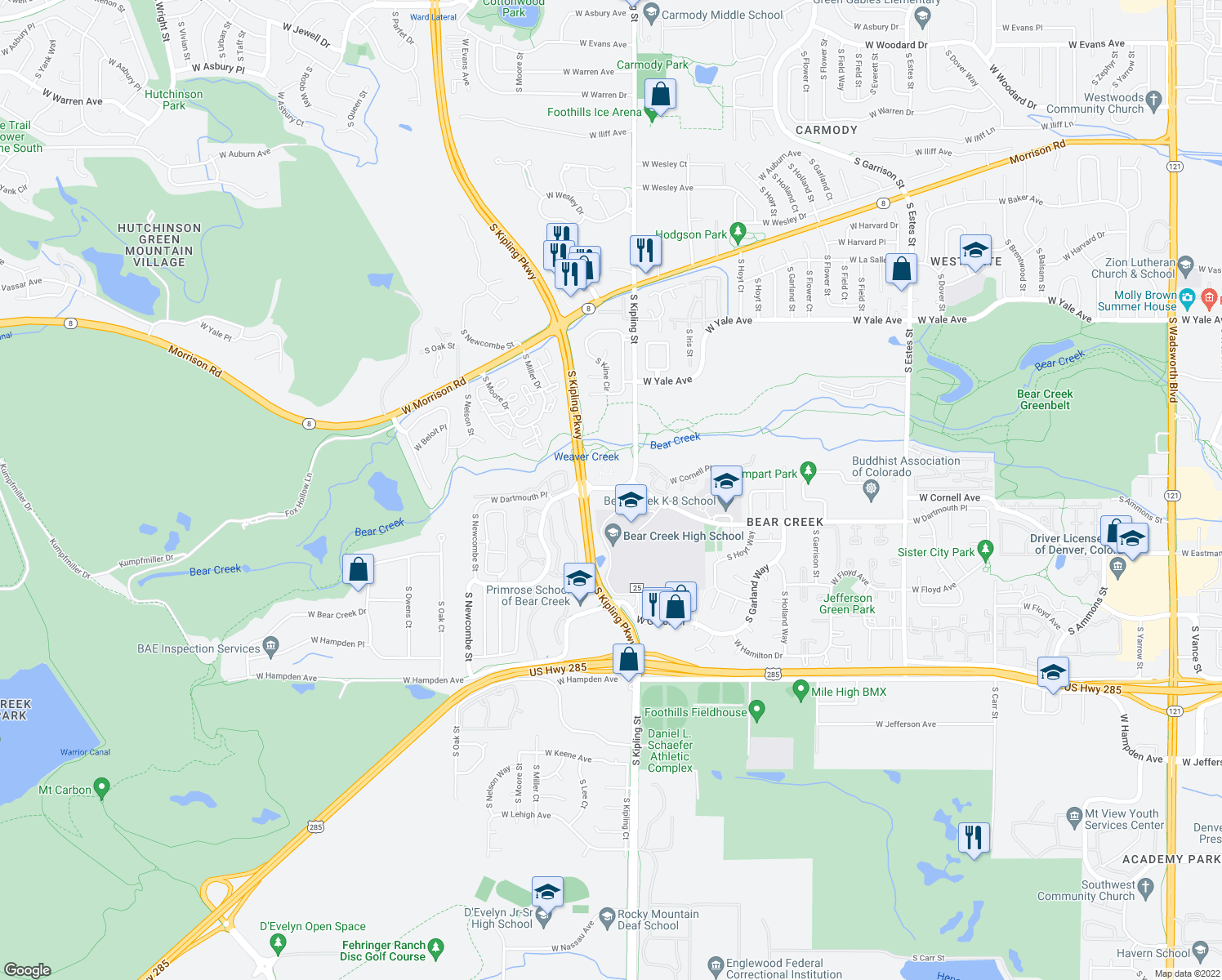 map of restaurants, bars, coffee shops, grocery stores, and more near 10025 West Dartmouth Avenue in Lakewood