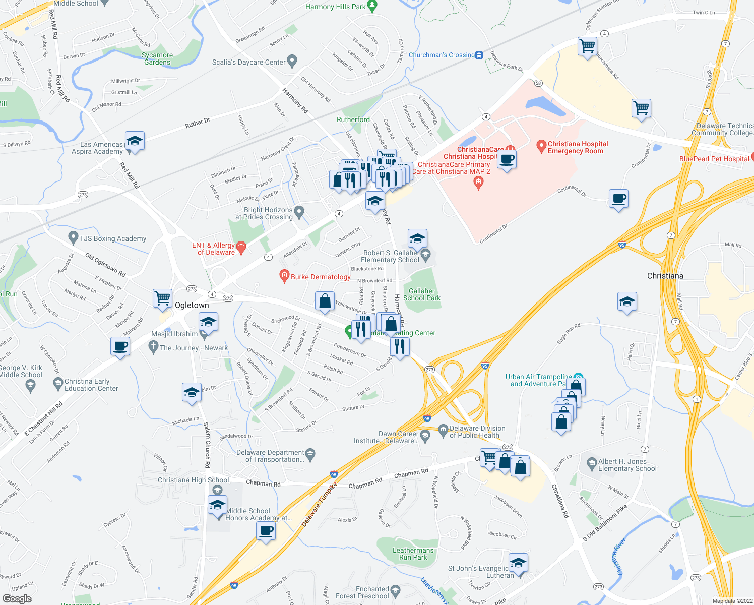map of restaurants, bars, coffee shops, grocery stores, and more near 1215 Stinsford Road in Newark