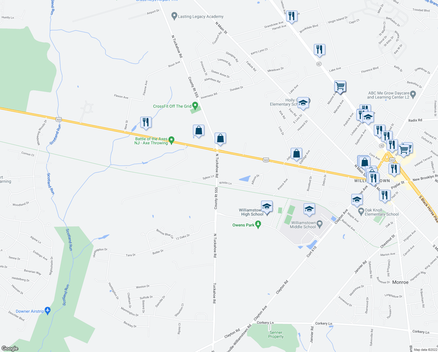 map of restaurants, bars, coffee shops, grocery stores, and more near North Tuckahoe Road in Williamstown