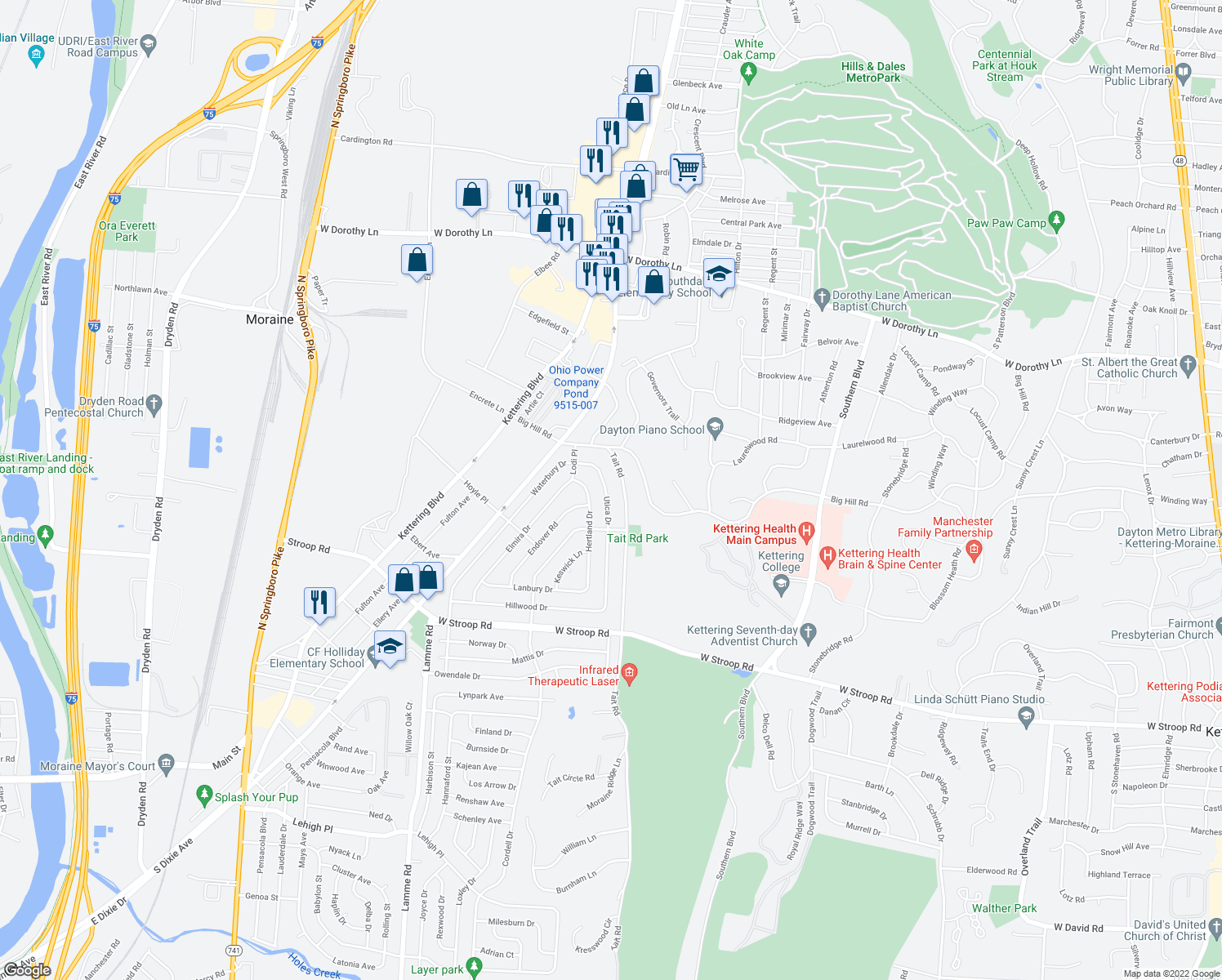 map of restaurants, bars, coffee shops, grocery stores, and more near 3606 Utica Drive in Dayton