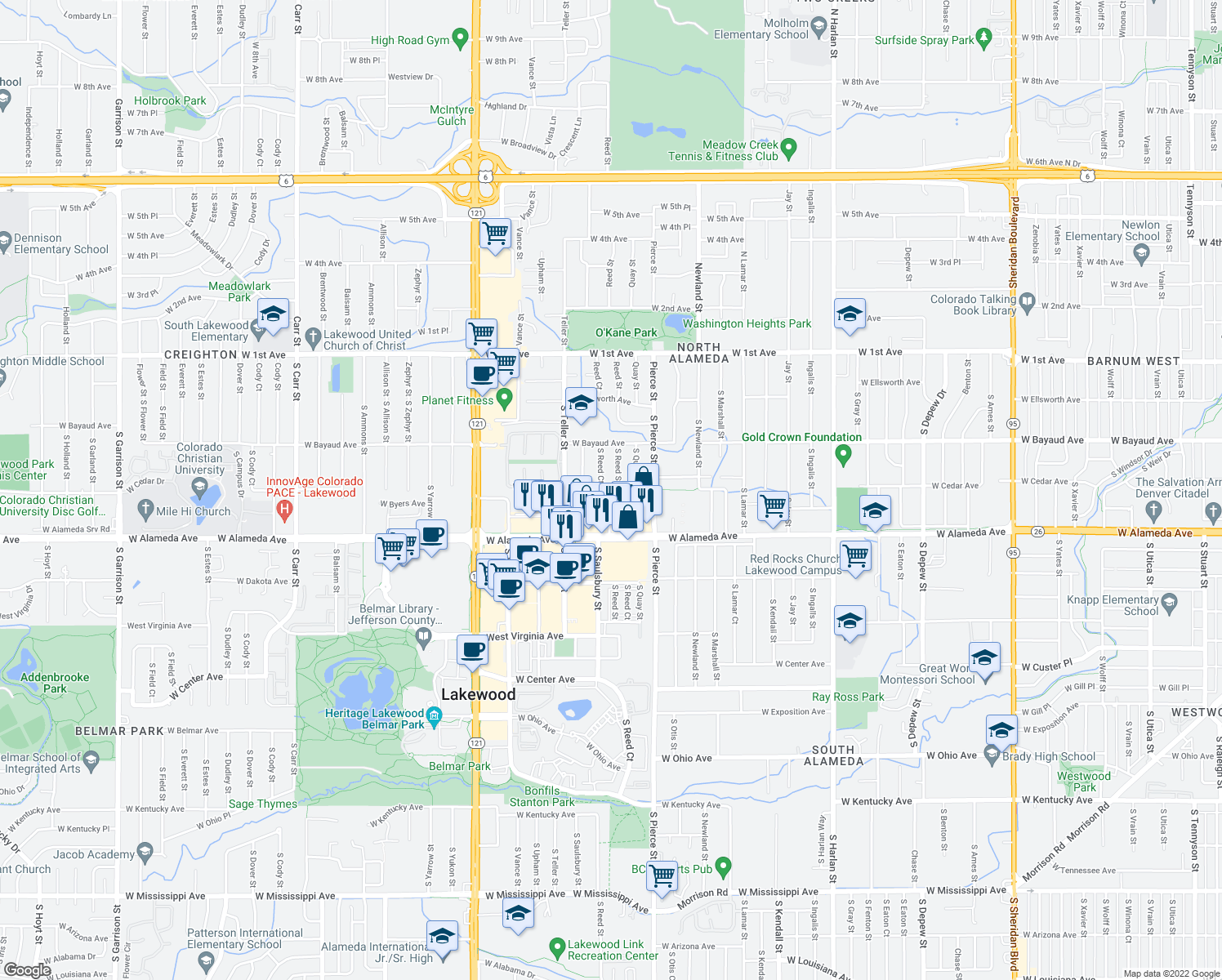 map of restaurants, bars, coffee shops, grocery stores, and more near 7030 West Cedar Avenue in Lakewood
