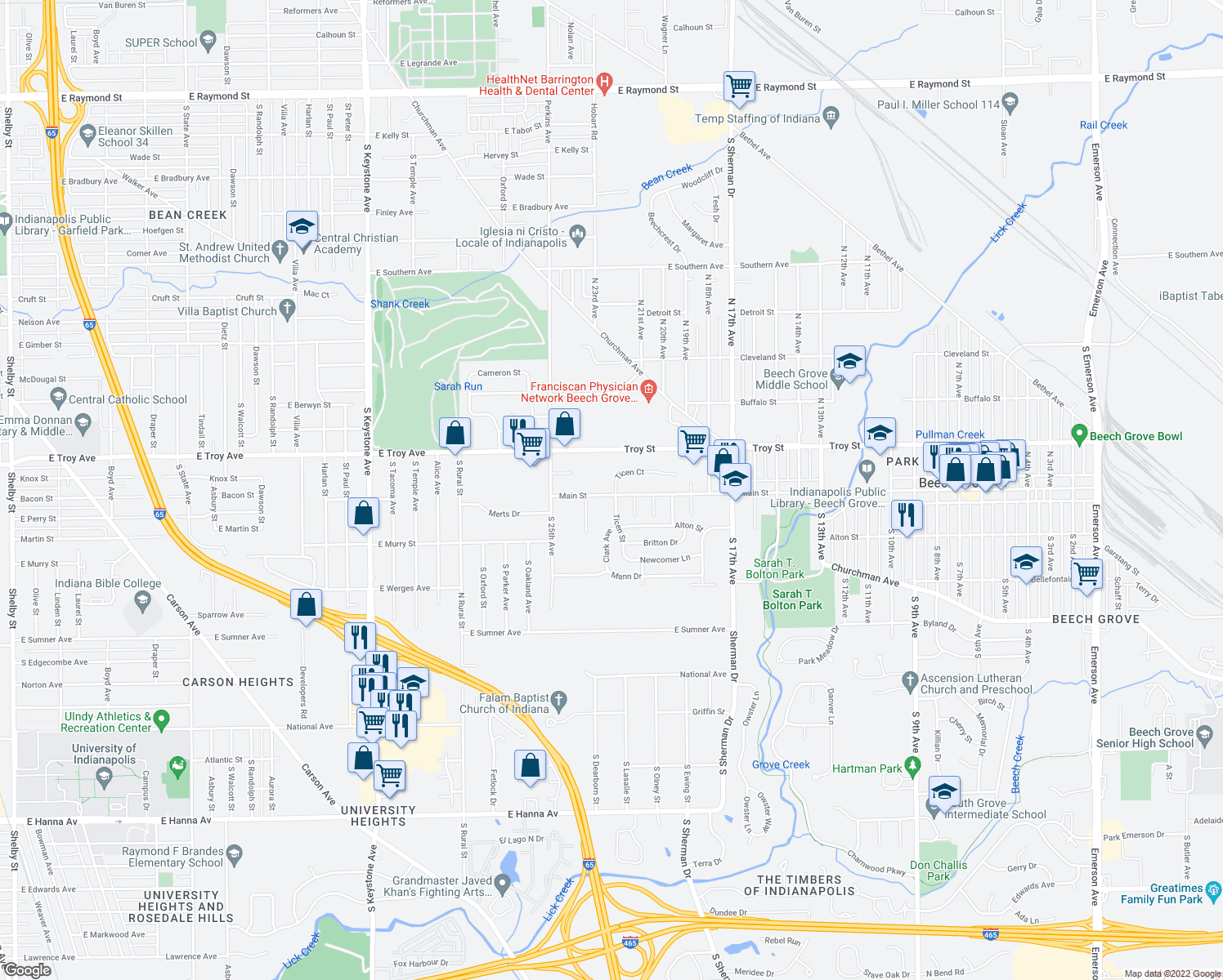 map of restaurants, bars, coffee shops, grocery stores, and more near 2202 Main Street in Beech Grove