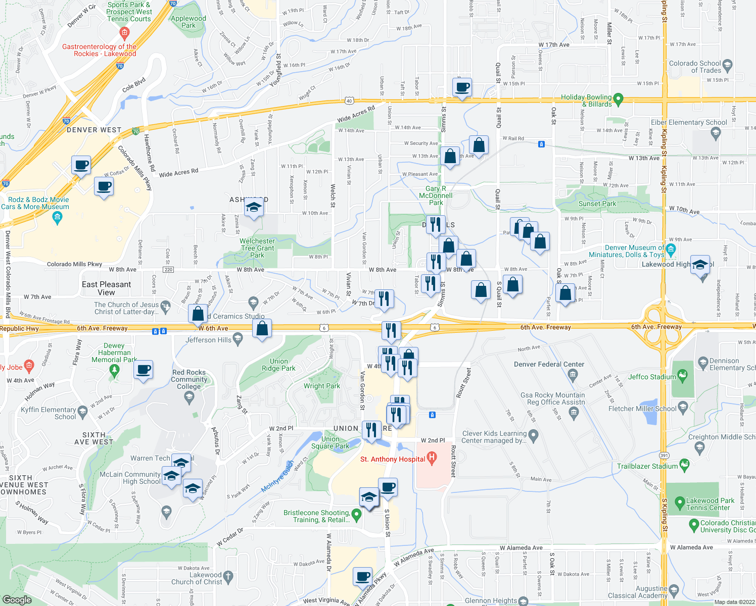 map of restaurants, bars, coffee shops, grocery stores, and more near 12086 West 7th Place in Golden