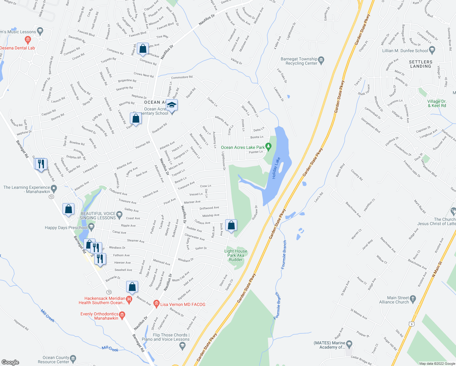 map of restaurants, bars, coffee shops, grocery stores, and more near 415 Lighthouse Drive in Stafford Township