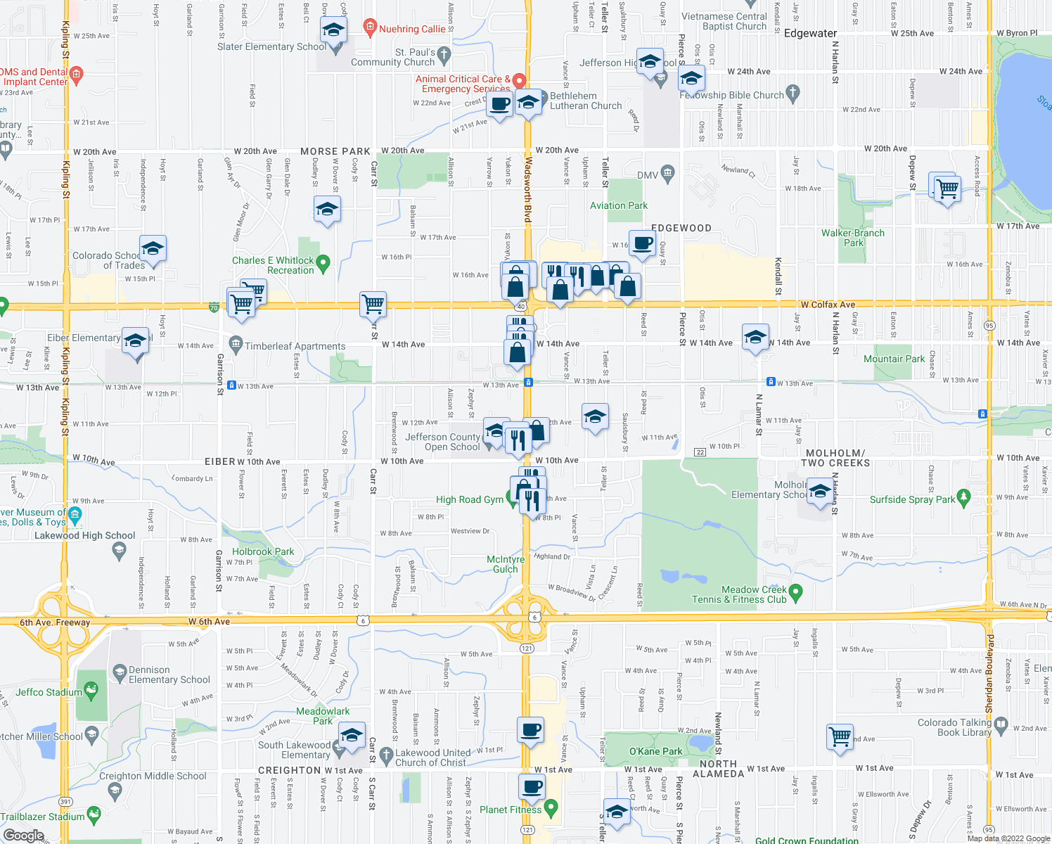 map of restaurants, bars, coffee shops, grocery stores, and more near Wadsworth Blvd & W 12th Ave in Lakewood