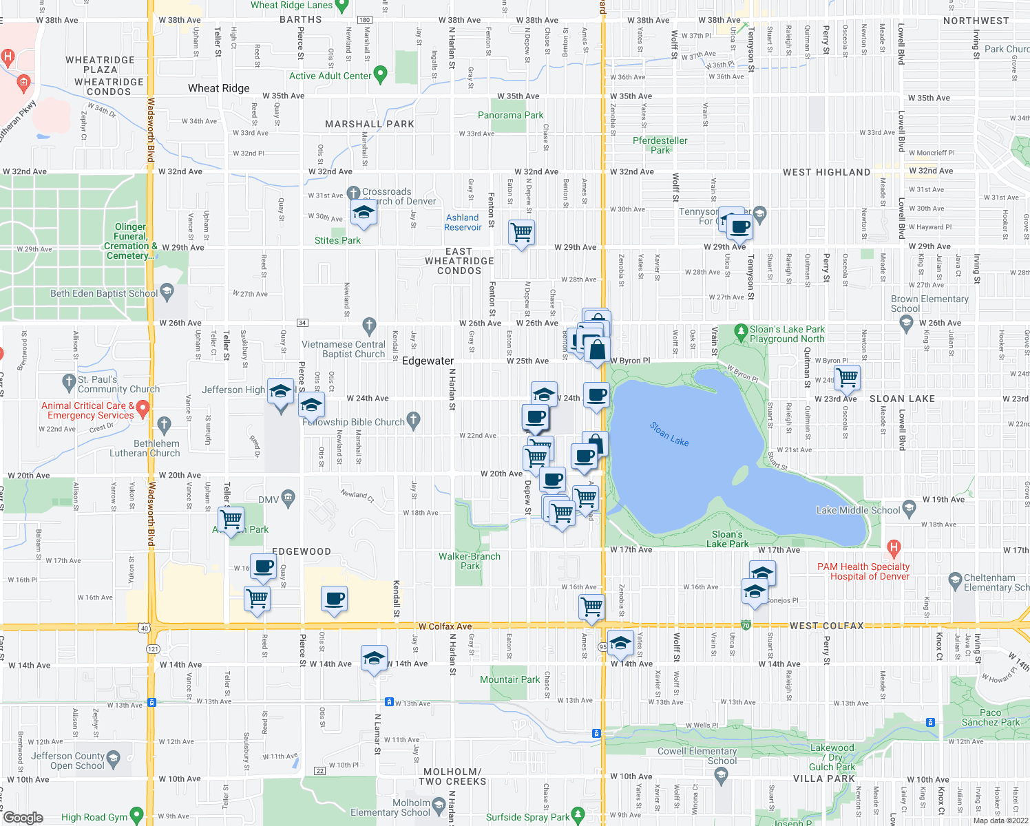 map of restaurants, bars, coffee shops, grocery stores, and more near 2231 Depew Street in Edgewater