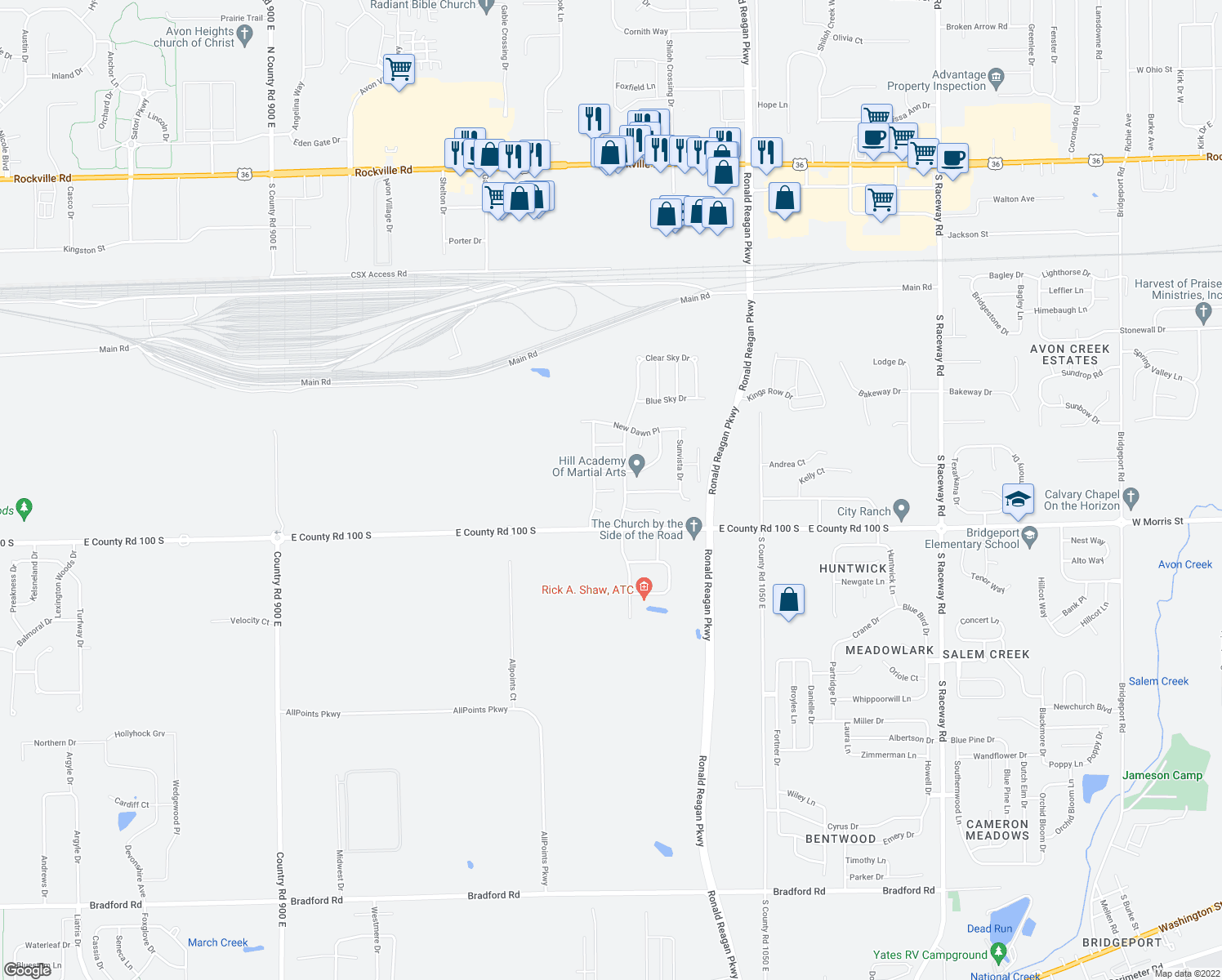 map of restaurants, bars, coffee shops, grocery stores, and more near 10036 Three Star Court in Indianapolis