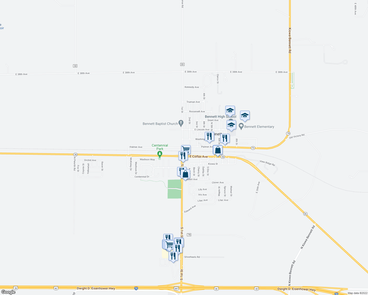 map of restaurants, bars, coffee shops, grocery stores, and more near 390 1st Street in Bennett