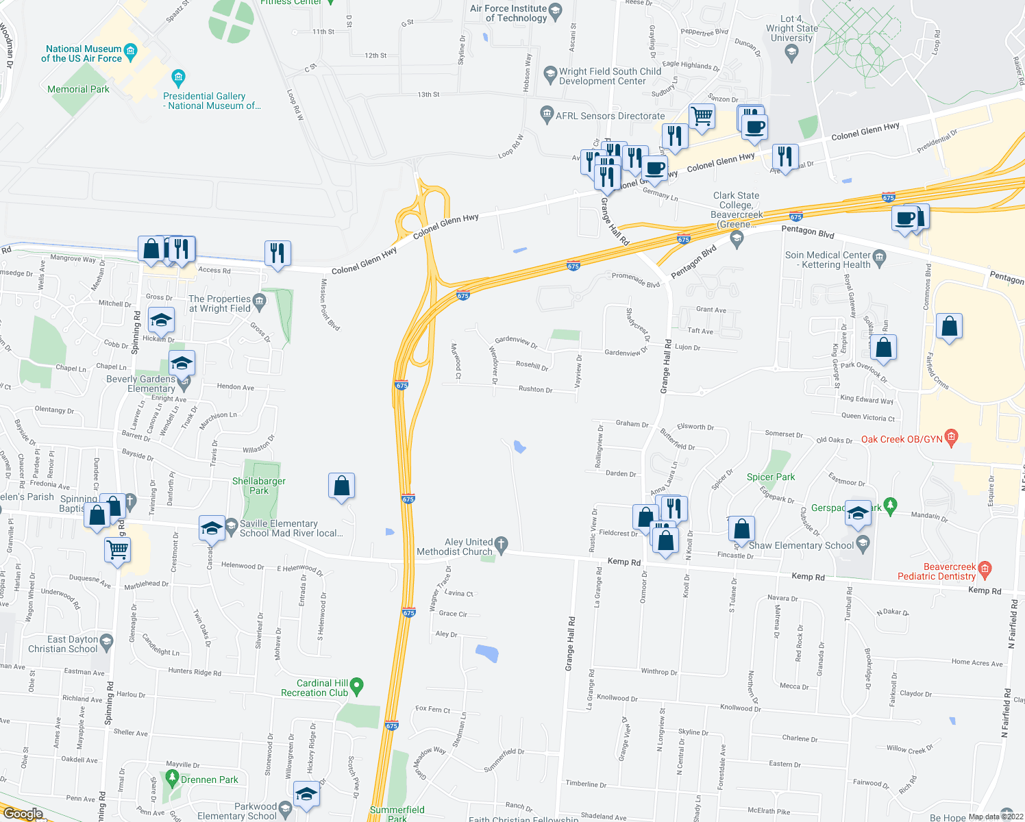 map of restaurants, bars, coffee shops, grocery stores, and more near in Beavercreek