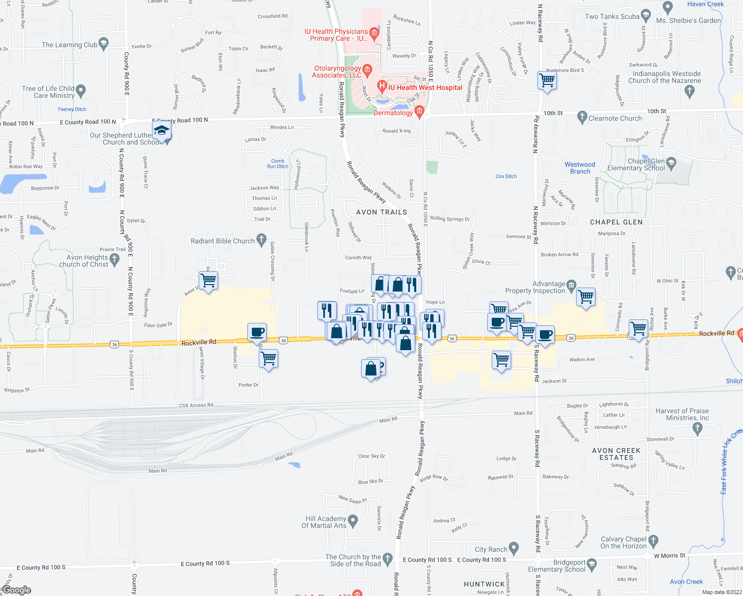 map of restaurants, bars, coffee shops, grocery stores, and more near 211-249 Aintree Way in Avon