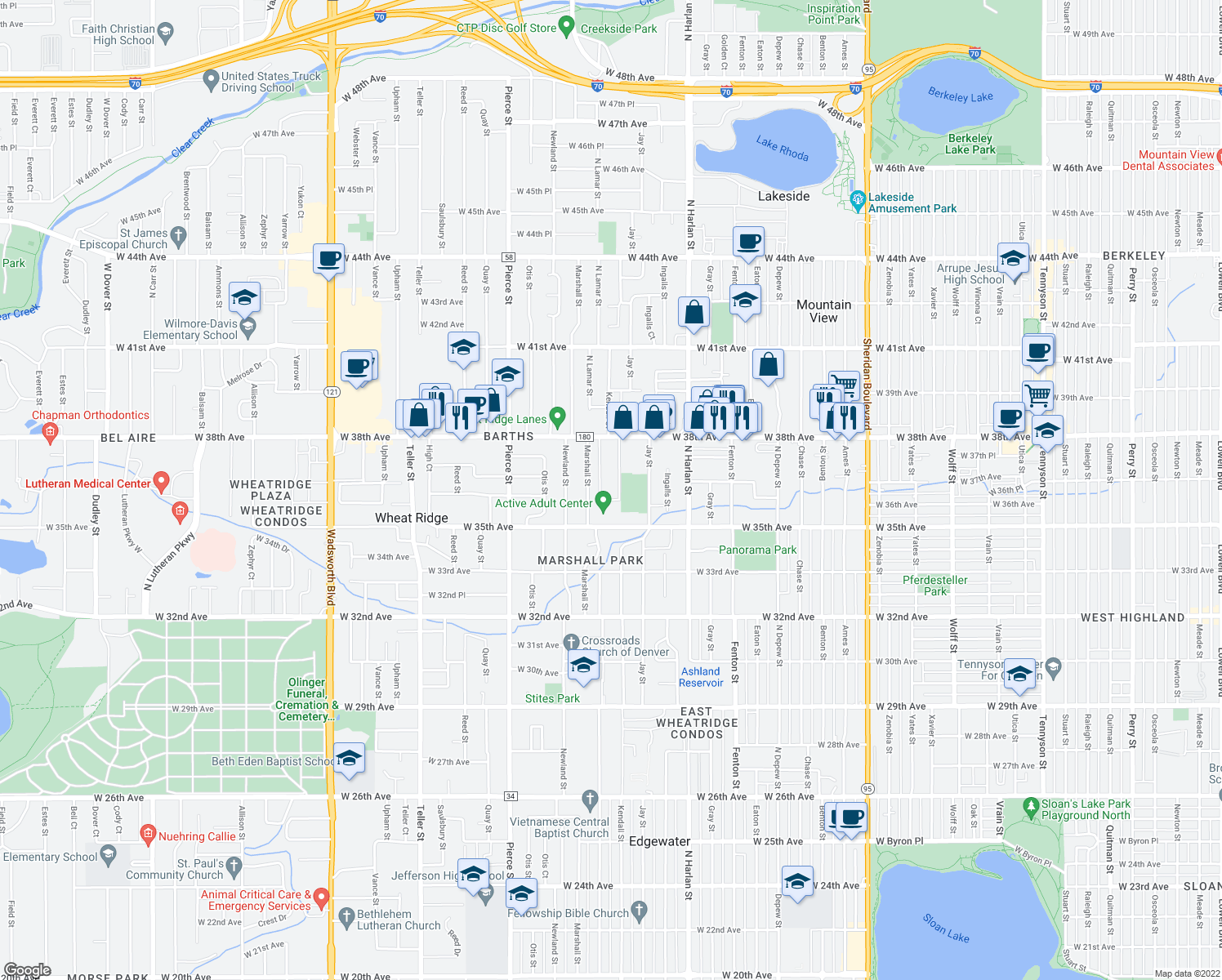 map of restaurants, bars, coffee shops, grocery stores, and more near 6295 West 35th Avenue in Wheat Ridge