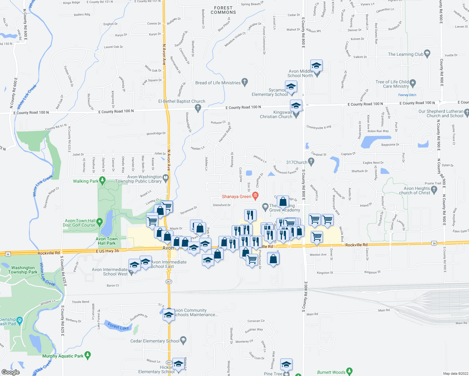 map of restaurants, bars, coffee shops, grocery stores, and more near 7439 Grandview Drive in Avon