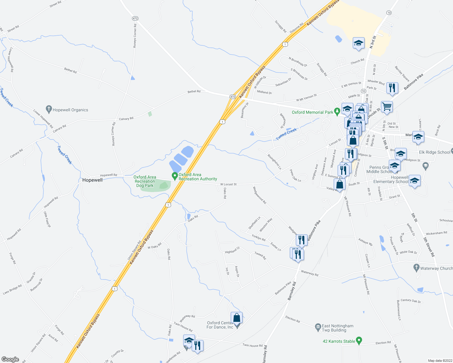 map of restaurants, bars, coffee shops, grocery stores, and more near 741 West Locust Street in Oxford