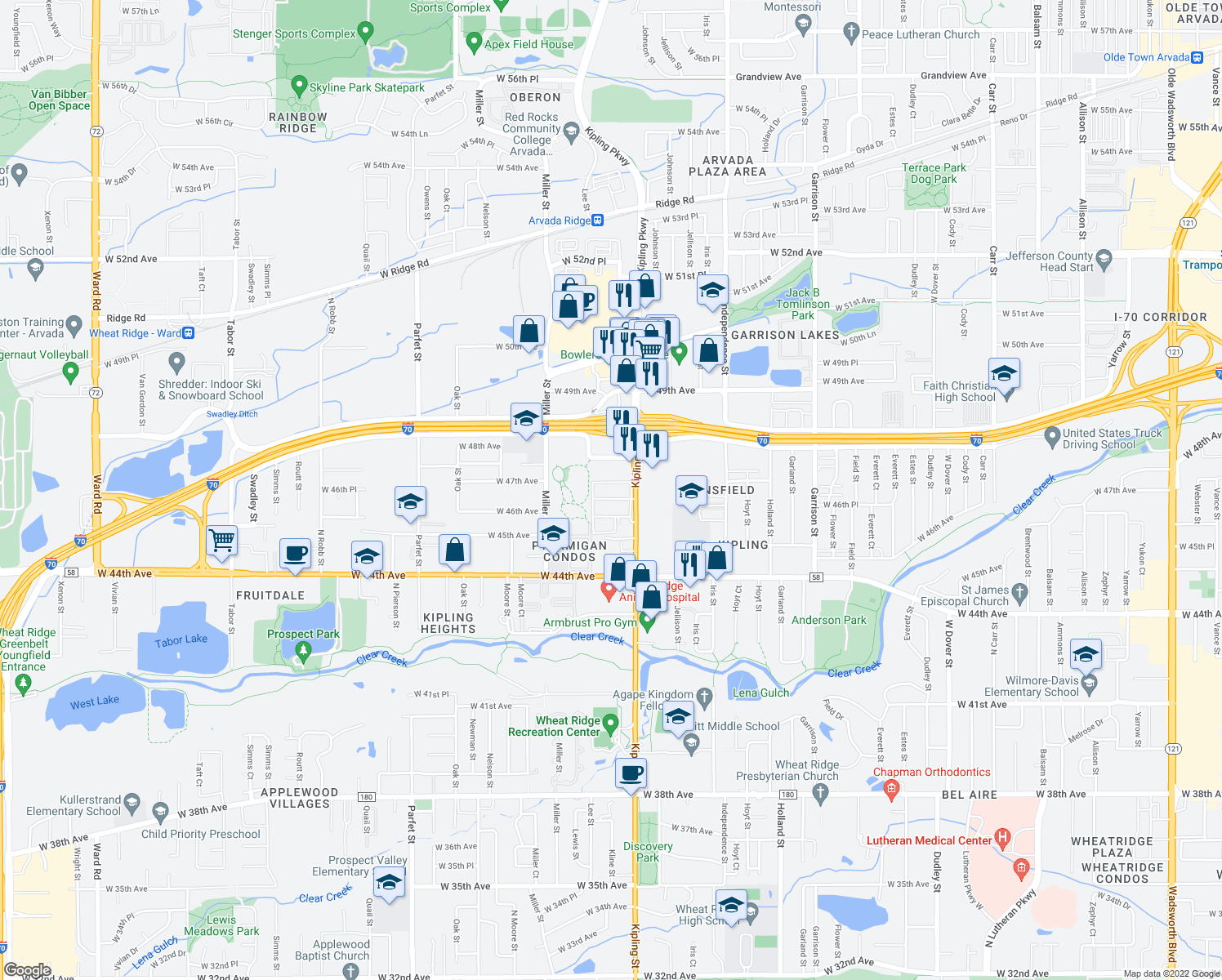 map of restaurants, bars, coffee shops, grocery stores, and more near 4665 Kipling Street in Wheat Ridge