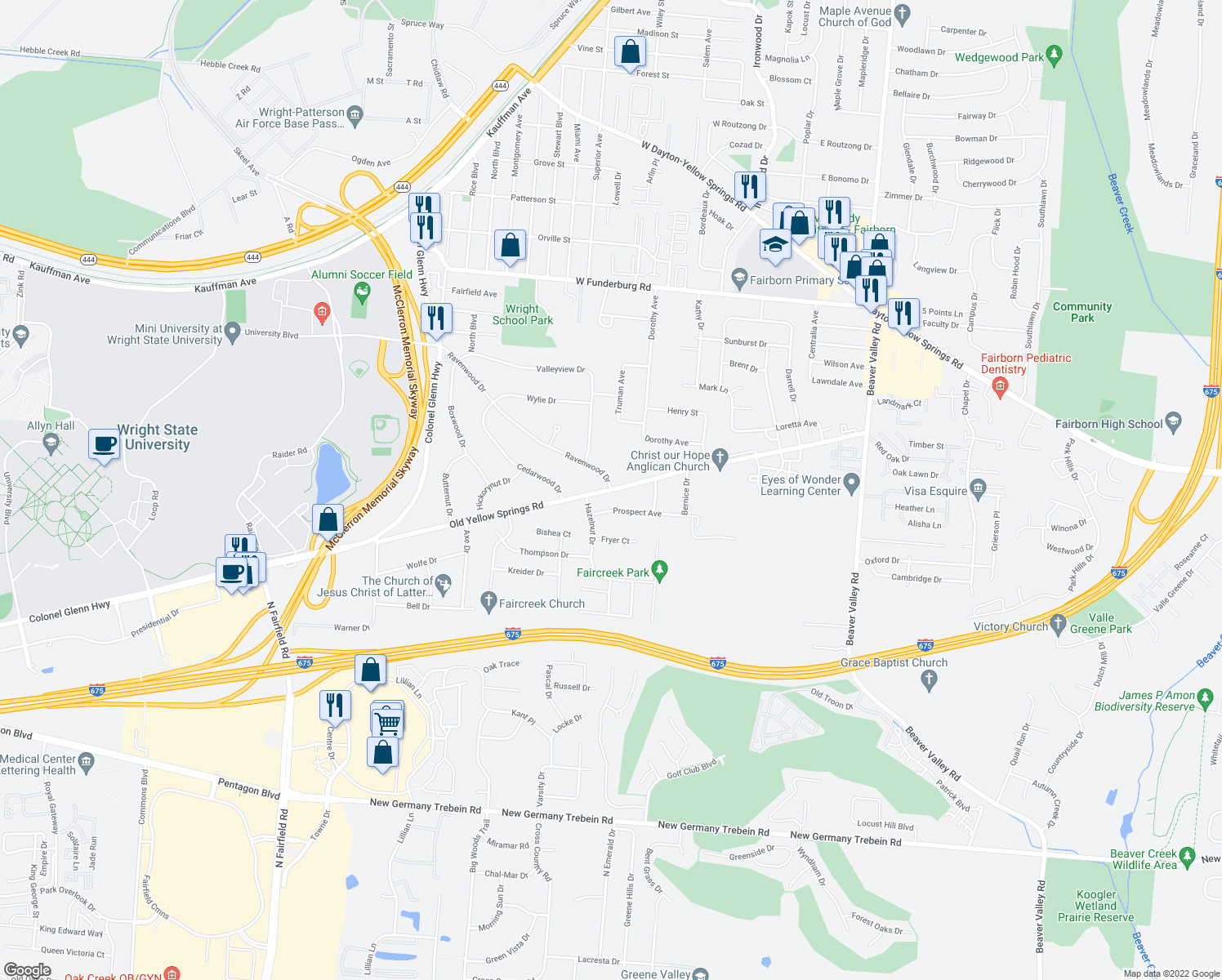 map of restaurants, bars, coffee shops, grocery stores, and more near Old Yellow Springs Road in Fairborn