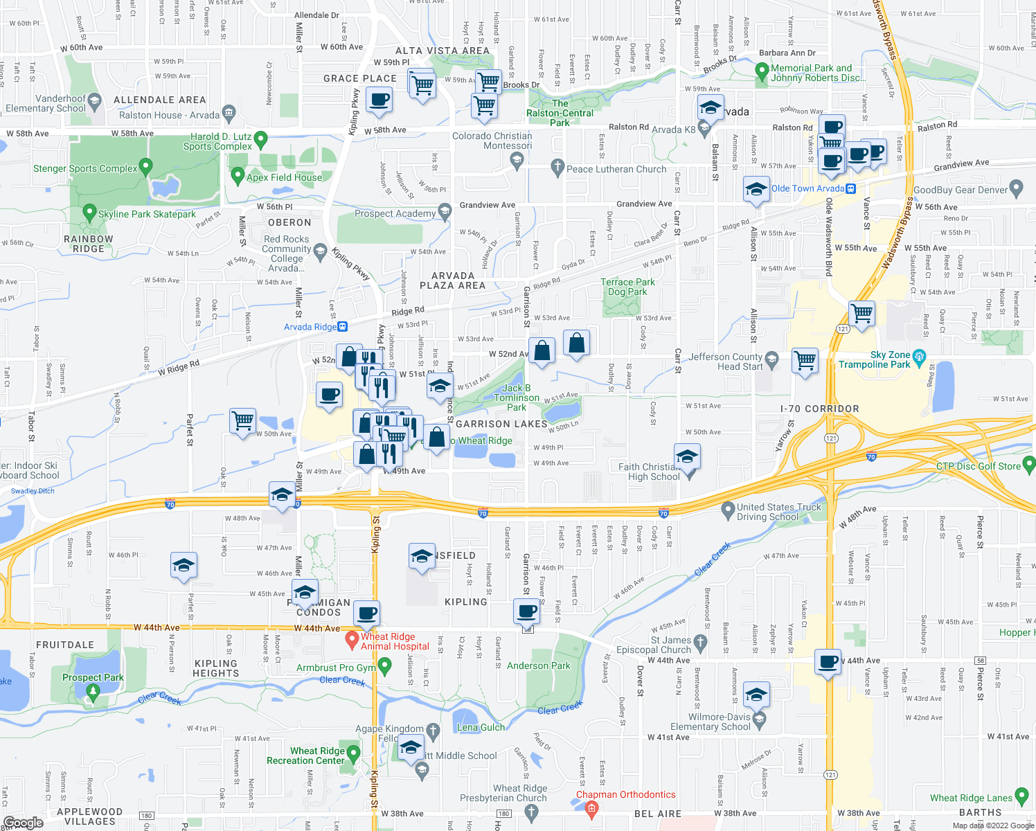 map of restaurants, bars, coffee shops, grocery stores, and more near 5099 Garrison Street in Wheat Ridge