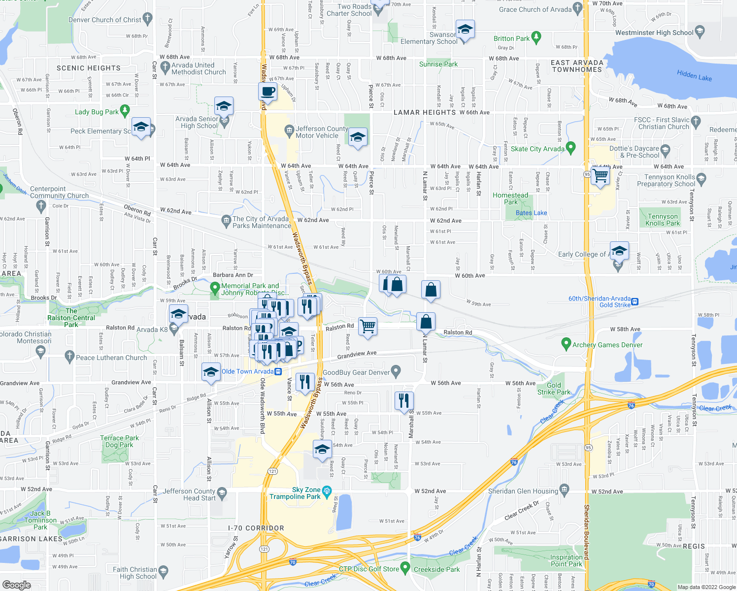 map of restaurants, bars, coffee shops, grocery stores, and more near 5856 Pierce Street in Arvada