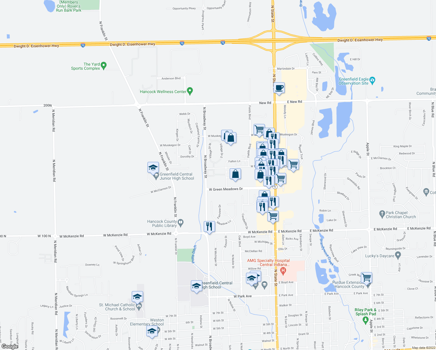map of restaurants, bars, coffee shops, grocery stores, and more near 521 Preston Drive in Greenfield